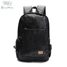 Three Box Brand Men Women PU Leather Vintage Backpacks Casual College Daypack School Laptop Shoulder Bags