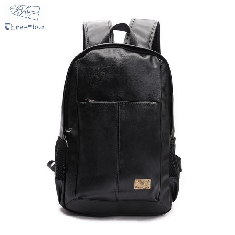 Three Box Brand Men font b Women b font PU Leather Vintage Backpacks Casual College Daypack