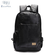Three-Box Brand Men Women PU Leather Vintage Backpacks Casual College Daypack School Laptop Shoulder Bags Zipper Rucksack 3542