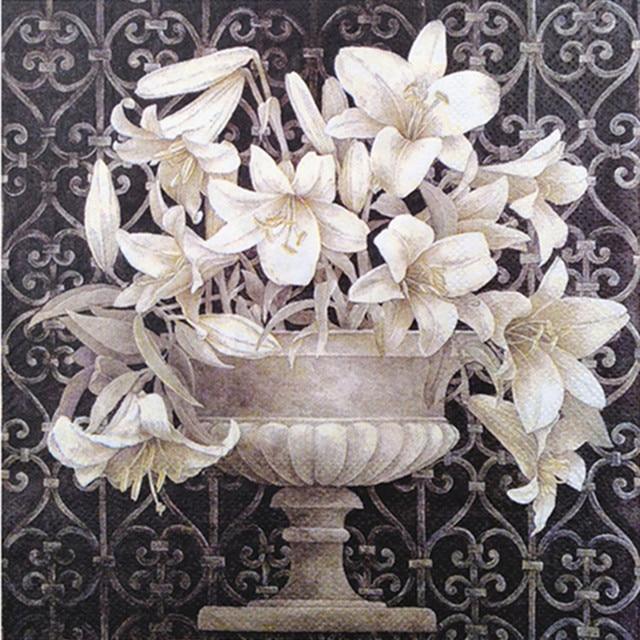 20 Vintage table Napkin paper decoupage wedding christmas birthday party  flower white balck serviettes  decorative tissue