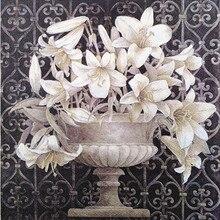 20 ヴィンテージテーブルナプキン紙デコパージュ結婚式クリスマス誕生日パーティー花白 balck ナプキン装飾ティッシュ