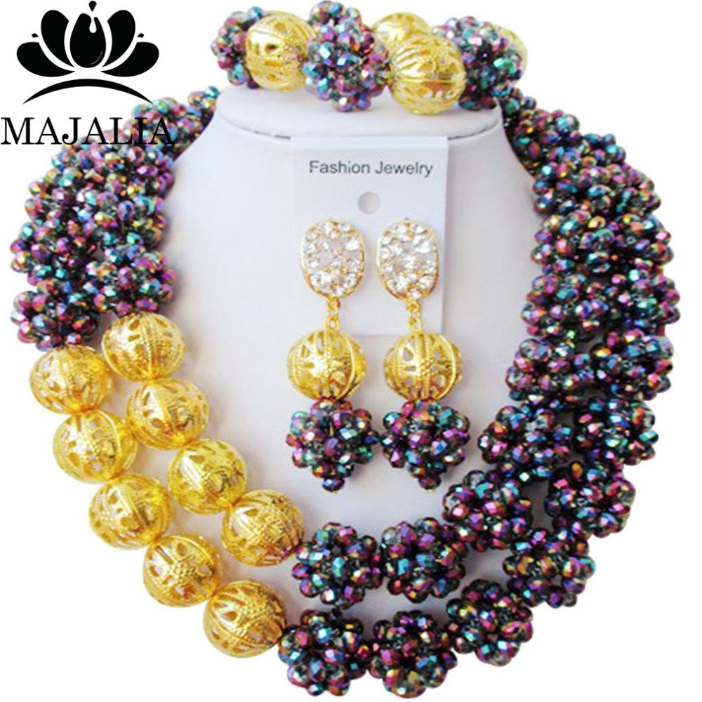 Majalia Classic Nigerian Wedding African Jewelry Set Multicolor plated Crystal Bead Necklace Bride Jewelry Sets 2JS014Majalia Classic Nigerian Wedding African Jewelry Set Multicolor plated Crystal Bead Necklace Bride Jewelry Sets 2JS014