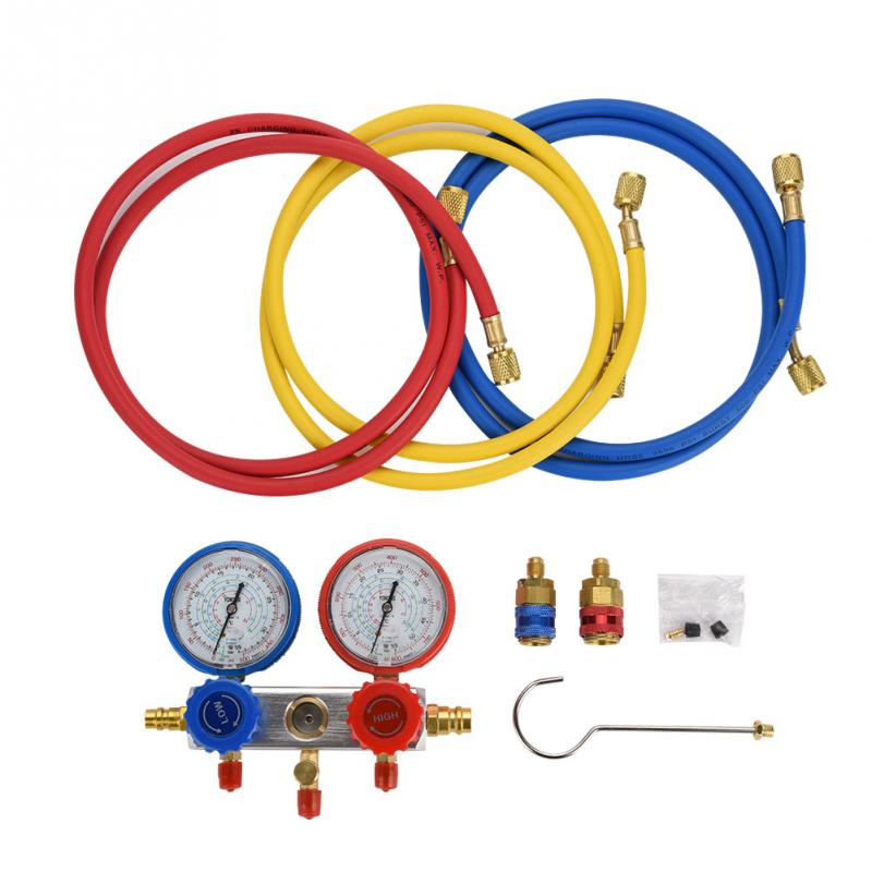0 500Psi Air Conditioning Refrigerant Diagnostic Fluorine Manifold Table Gauge Set With Pressure Gauge