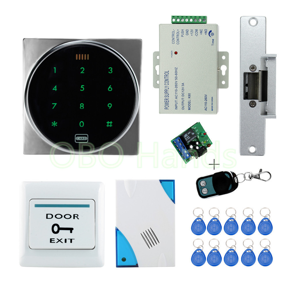 RFID security door lock system kit set with touch access control card reader electronic door lock for wooden door+ ID keychains access control lock metal mute electric lock rfid security door lock em lock with rfid key card reader for apartment hot sale