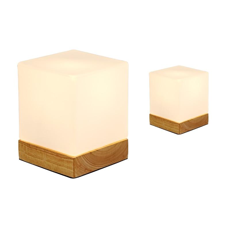 Современный простой квадратный настольная лампа гостиная спальня украшения светодиодный свет стол Массив дерева лампа тела стеклянный аб