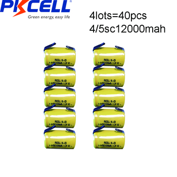 40pcs PKCELL 4/5SC 1200mah subc battery 1.2v nicd rechargeable batteries Flat Top With Tabs For electrical drills shaves