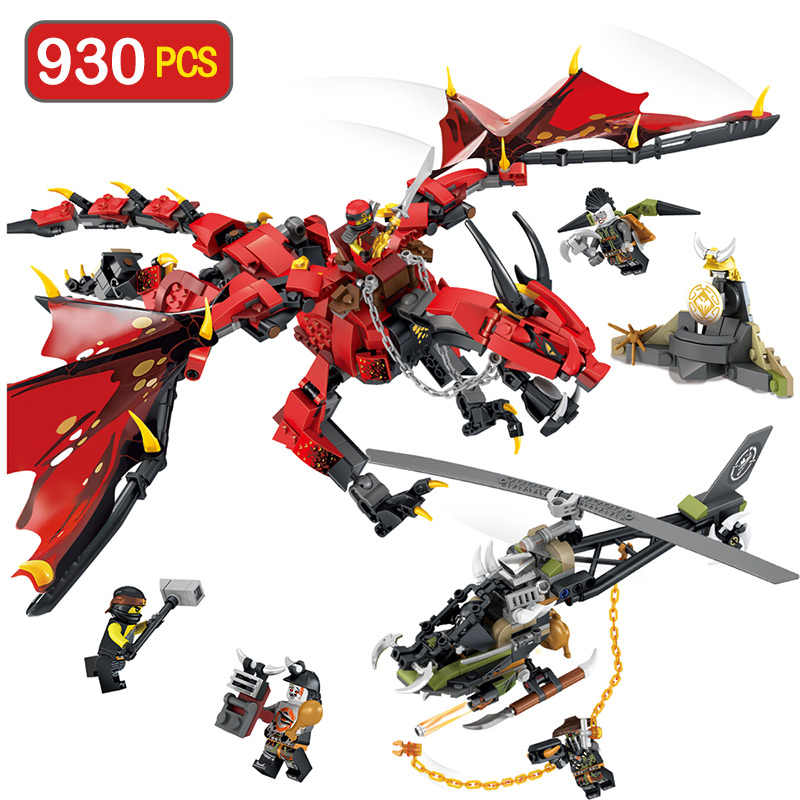 Fogo de Dragão Homem Robôs Amigos Ninjagoed Série Blocos de Construção Compatíveis com legoINGLYS Figuras Tijolos Brinquedos para As Crianças