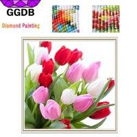 GGDB 5D DIY Diamond Painting Colorful Tulips Full Square Drill Flower Series Mosaic Sticker Decor Cross