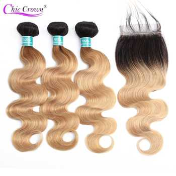 Body Wave Bundles With Closure Pre-Colored Ombre Brazilian Hair 3 Bundles With Lace Closure 1B/27 BodyWave Human Hair Bundles - DISCOUNT ITEM  47% OFF All Category