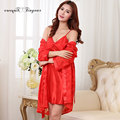 Drop ship sexy lingerie nightgown women lace sleepwear set long sleeve v neck silk elegant pajama robe set 3 colors optional
