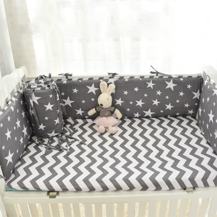 Baby bed bumper 4pcs + 1 pc fitted sheet  hang bag baby bedding set star design crib around protection for baby boys girls