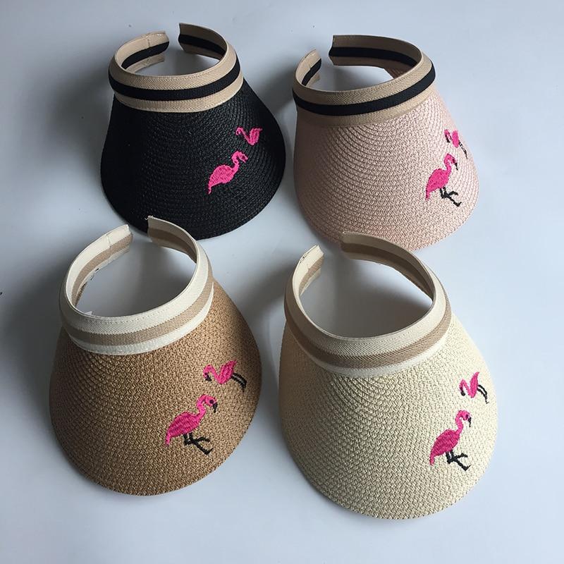 Sonderabschnitt Frau Sonne Hüte Weibliche Flamingo Vogel Bestickte Visier Caps Diy Stroh Sommer Kappe Casual Schatten Hut Leere Top Hut Strand Neue