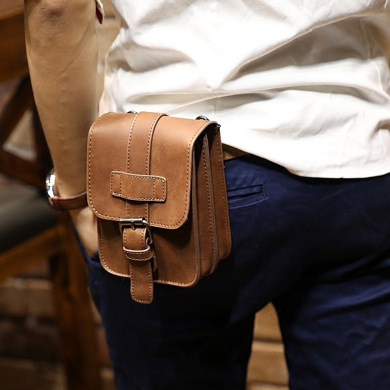 Retro Crazy Horse Pu Leather Mens Waist Bag Travel Fanny