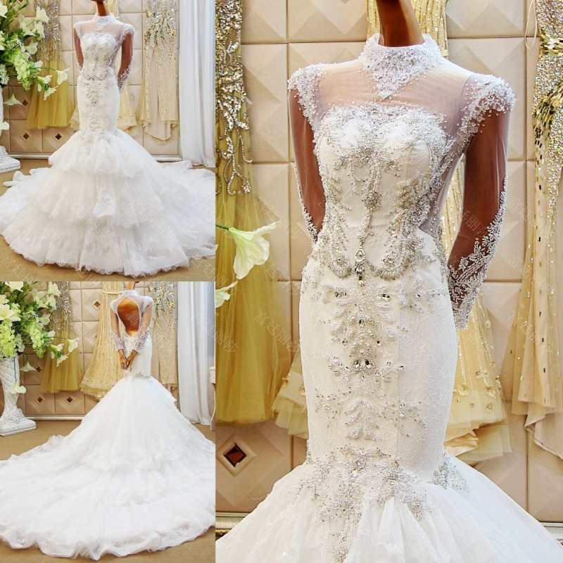 2018 New Elegant Embroidery Strapless Wedding Dresses Full Sleeve Crystals Satin Court Train Lace Bridal Ball Gowns