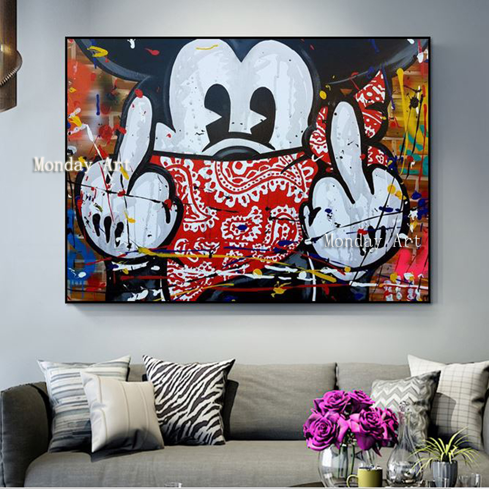 Peinture à l'huile de bande dessinée à la main de haute qualité en gros peinture à l'huile sur toile monopole Mickey Mouse peinture à l'huile œuvre pour chambre d'enfant