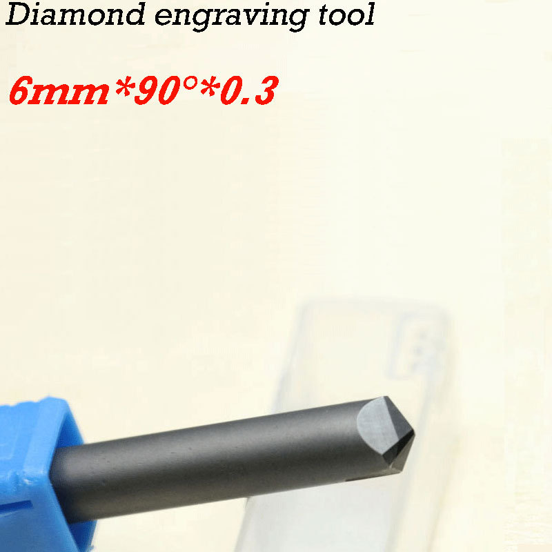 1pc CNC diamond cutter carving tools stone router bits 90 degree 0.3*6mm huhao 1pc 6mm cnc router end mill diamond pcd tools stone hard granite cutting engraving bits 30 35 40 45 degree pcd cutter