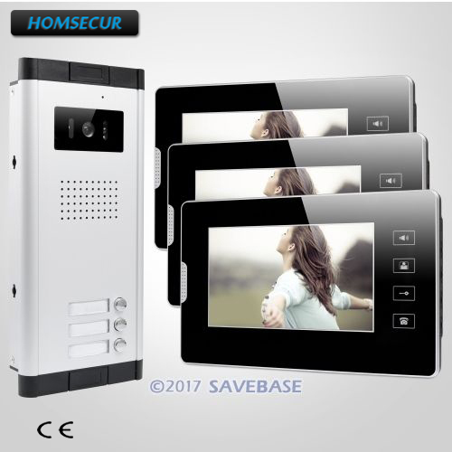 HOMSECUR 7 Wired Video Door Phone Intercom Kit with Dual-way Intercom for 3 ApartmentHOMSECUR 7 Wired Video Door Phone Intercom Kit with Dual-way Intercom for 3 Apartment