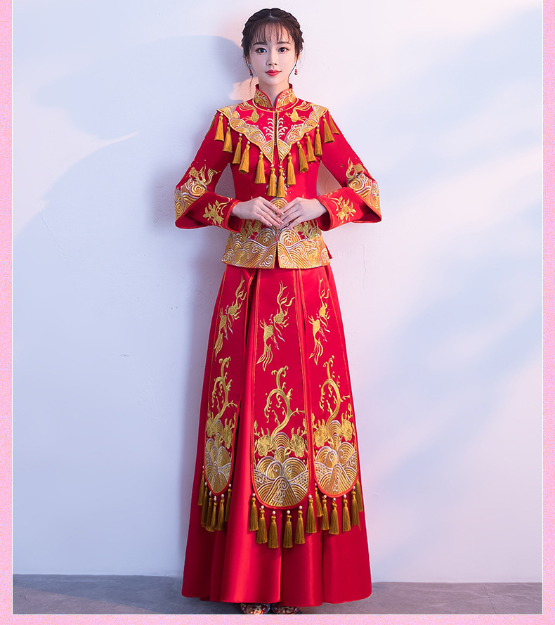 Oriental Style Tassel Vintage Gown Long Cheongsam China Bride Marry Qi Pao Chinese Traditional Wedding Dress Dragon Phoenix Robe
