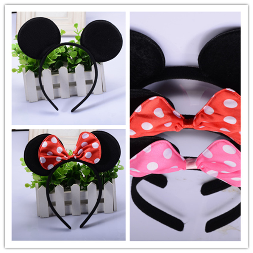 10pcs/lot Wholesale Minnie Mouse Ears Headband Black Red Pink Polka Dot Bow Birthday Party Favors Halloween Costume