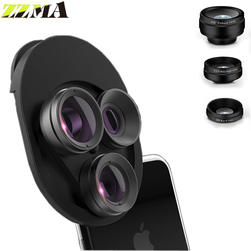 ZZMA 3in1 Universal Rotary Mobile Phone Lens Wide Macro