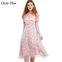 ONLY PLUS Chiffon Dress Party For Women Cute Pink Printed Dresses Low V Neck Elegant Female