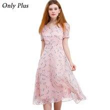 SÓLO PLUS Gasa Vestido de Fiesta Para Las Mujeres Linda Rosa Vestidos Impresos Bajo V-cuello Elegante Mujer S-XXL