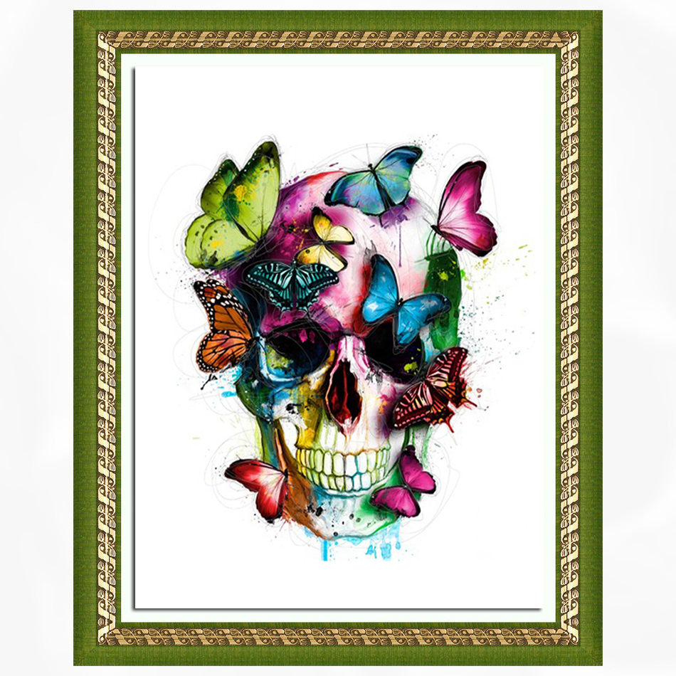 New DIY 5D diamond embroidered skull, butterfly round diamonds, embroidered cross suite, diamond inlay, home decor, 40*, 50CM