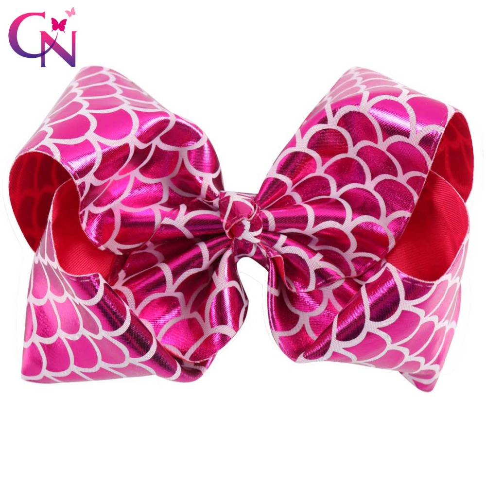 New Fashion 8 Mermaid JoJo Bows With Clips For Kids Girl Boutique Printed Metallic Leather Hair Bows Hairgrips Hair Accessories women hair accessories girl hair fascinators wool felt hat flower girl hair bows with clips