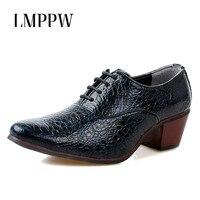 2018 Luxury Brand Men Pointed Toe Crocodile Leather Shoes Gentleman High Heels Wedding Shoes Men Oxfords