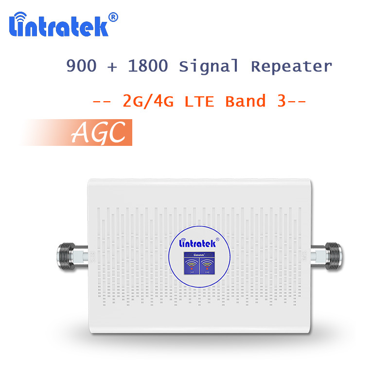 Repeater 900 1800 (FDD) DCS Mobile Phone Signal Booster AGC LTE Internet Amplificador GSM 70dB Repetidor Band 3 4G Cellular S49-in Signal Boosters from Cellphones & Telecommunications