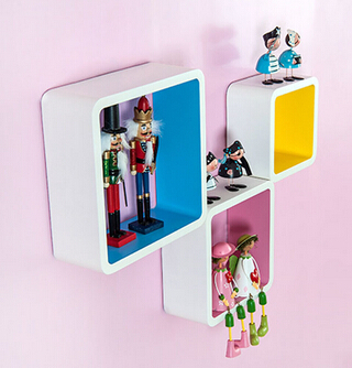 3pieces / lot persegi Berbentuk Rak hias dinding Rak kayu Rak moden - Organisasi dan penyimpanan di dalam rumah - Foto 5
