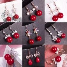 Новинка, элегантные винтажные свисающие серьги с красным камнем для женщин, серьги в форме сердца с искусственным жемчугом и длинной кисточкой, подарки