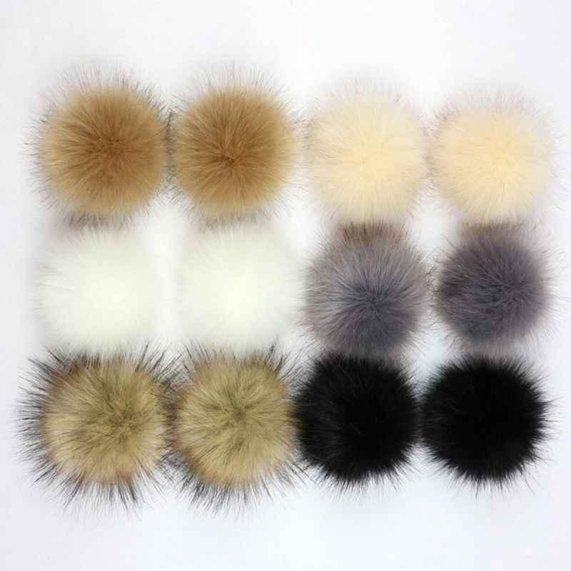 8/10cm diy artificial falso pele de vison fofo pompom bola cor sólida para tricô chapéu sapatos cachecóis bolsa encantos ornamento