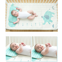 Summer Cool Baby Bed Sheet Ice Silk Cartoon Printed Mat Kit Newborn Bedsheets Cartoon Kid's Summer Sleeping Mat with Pillow