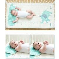 Summer Cool Baby Bed Sheet Ice Silk Cartoon Printed Mat Kit Newborn Bedsheets Cartoon Kid's Summer Sleeping Mat with Pillow