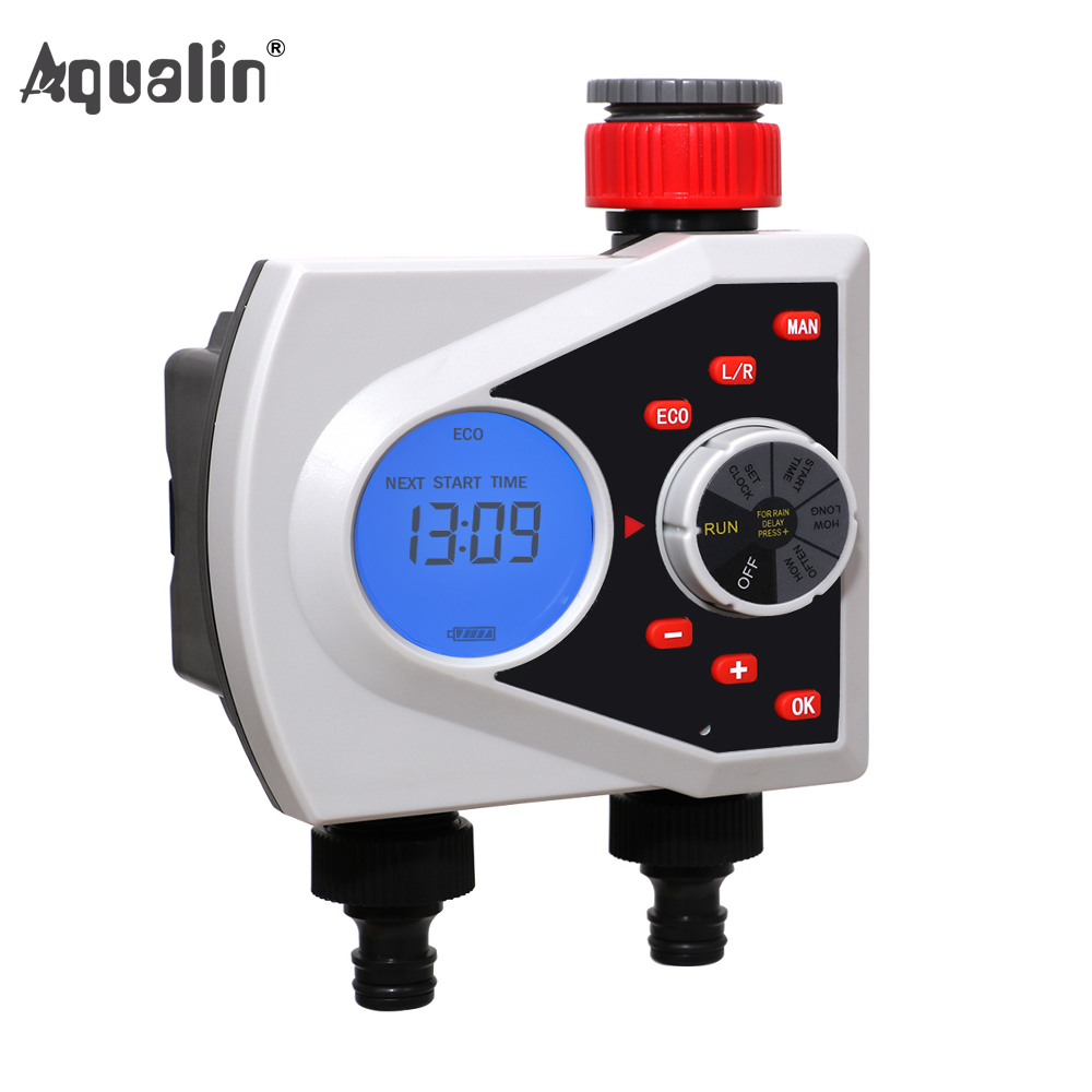 Two Outlets Garden Automatic Watering Timer Digital Electronic Solenoid Valve Sprinkler Timer Irrigation Controller System#21076