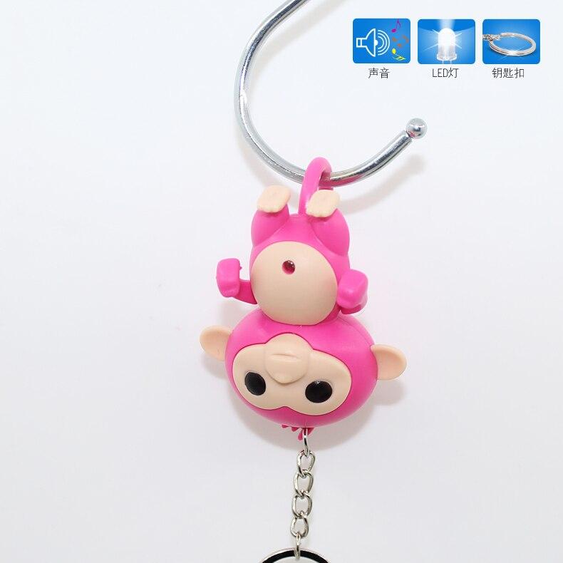 New Arrive Polular Monkeys LED Keychain With Sound,flashlight Keyrings,New Year's Gift,bag Pendant Toy Animal Keyring Accessory