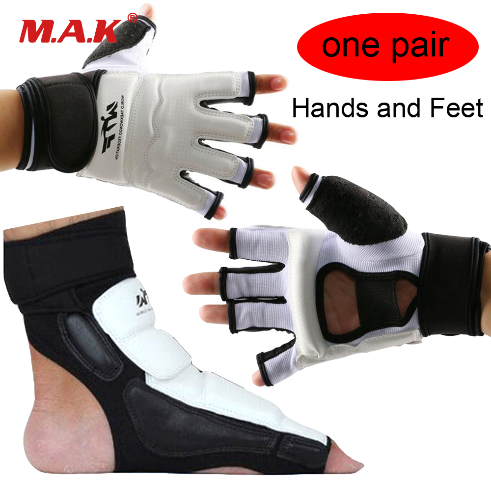 One Pair Hands and Feet Protector MMA PU Leather Half Finger Taekwondo Gloves Foot Guard Fighting Karate Boxing Gloves Footgear high quality mooto taekwondo foot protector kta for offical competition fighting feet guard kicking box spats guard