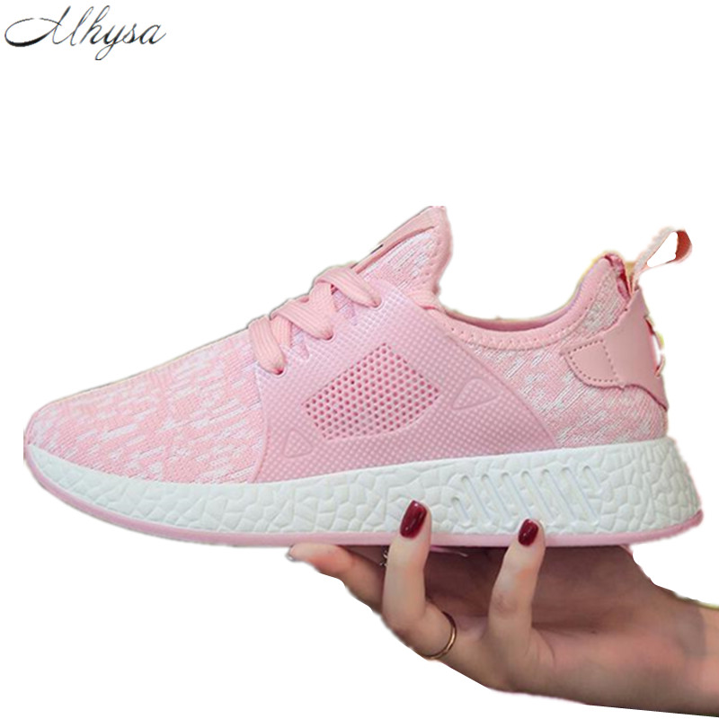 Mhysa 2018 Women Comfortable Sneakers Casual Flats shoes Spring Women Vulcanize Shoes Female shoes Air Mesh zapatillas mujer Y17 2017brand sport mesh men running shoes athletic sneakers air breath increased within zapatillas deportivas trainers couple shoes