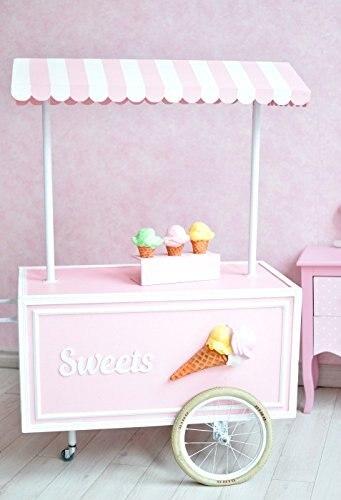 Pink Ice Cream Cart Candy Bar Theme Shop Buffet Baby Newborn Child Wash Shower Fotografi ...