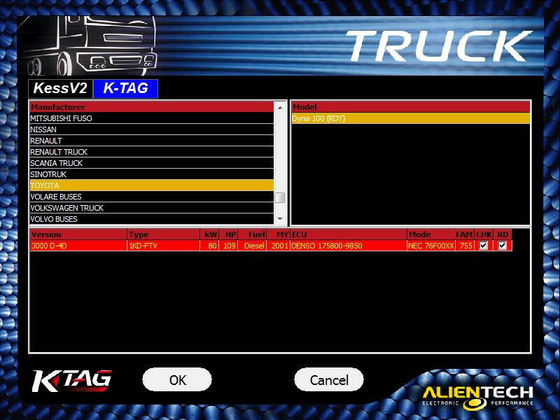 ktag 7.020 support truck showing