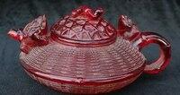 9 Китай янтаря ручной работы Золотая жаба Spittor насекомых вино Чай Пот кувшин статуя