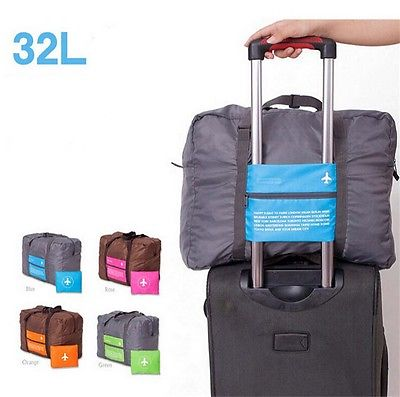Travel Luggage Bag Huge Capacity Expandable Folding Carry On Duffle Foldable Blue