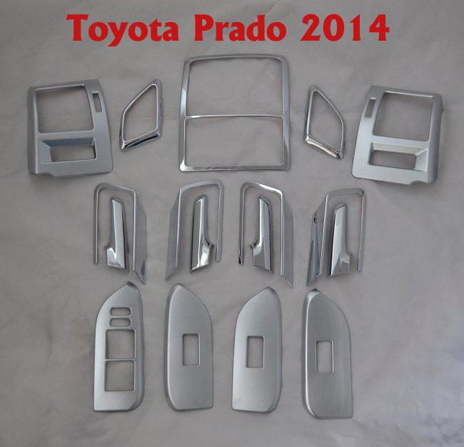 17pcs car interior board panel trims styling cover for toyota land cruiser prado fj 150 2014. Black Bedroom Furniture Sets. Home Design Ideas