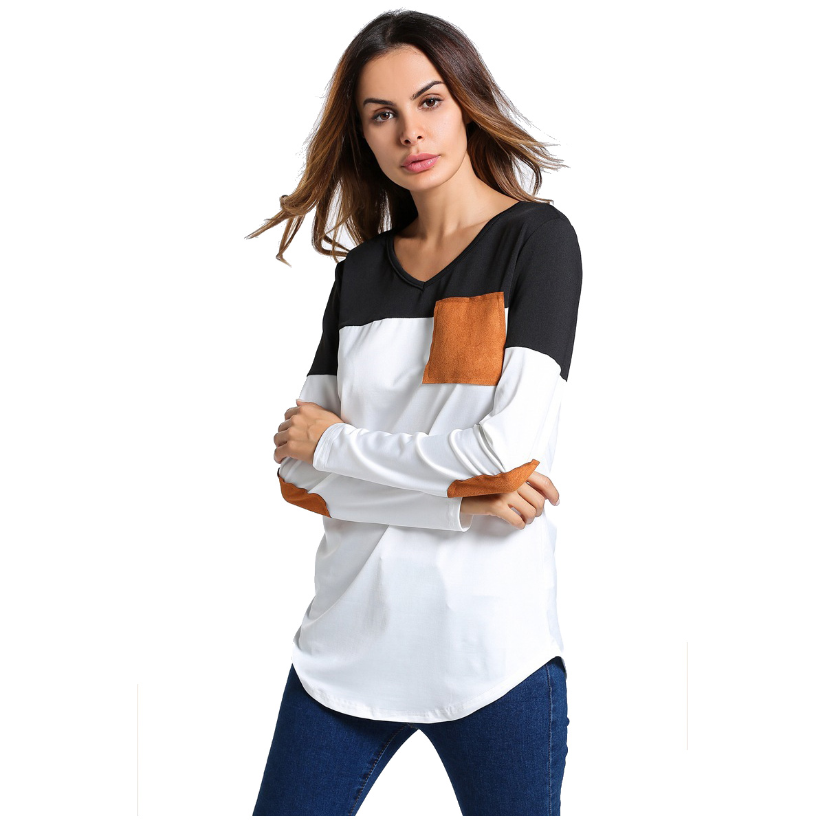 Women New T Shirt Tops Funny Shirt Casual O Neck Long Sleeve Elbow Patch Contrast Color Patchwork Tops