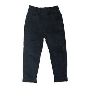 Image 4 - Pantalones vaqueros para niño, pantalones informales rasgados negros para niño, pantalones con agujeros de algodón, ropa para niño de 2, 4, 6, 8 y 10 años