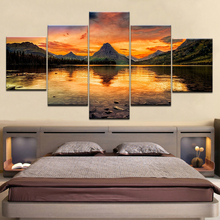 Modern 5pcs Sunset Picture Modular Canvas Oil Paint Framed Beauty Lake Landscape Room Wall Art Poster Home Decor Prints