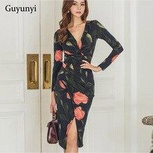 Spring Autumn Party Dress Irregular Split Slash Sexy Dress Elegant Package Hip Midi Dress Floral Wom