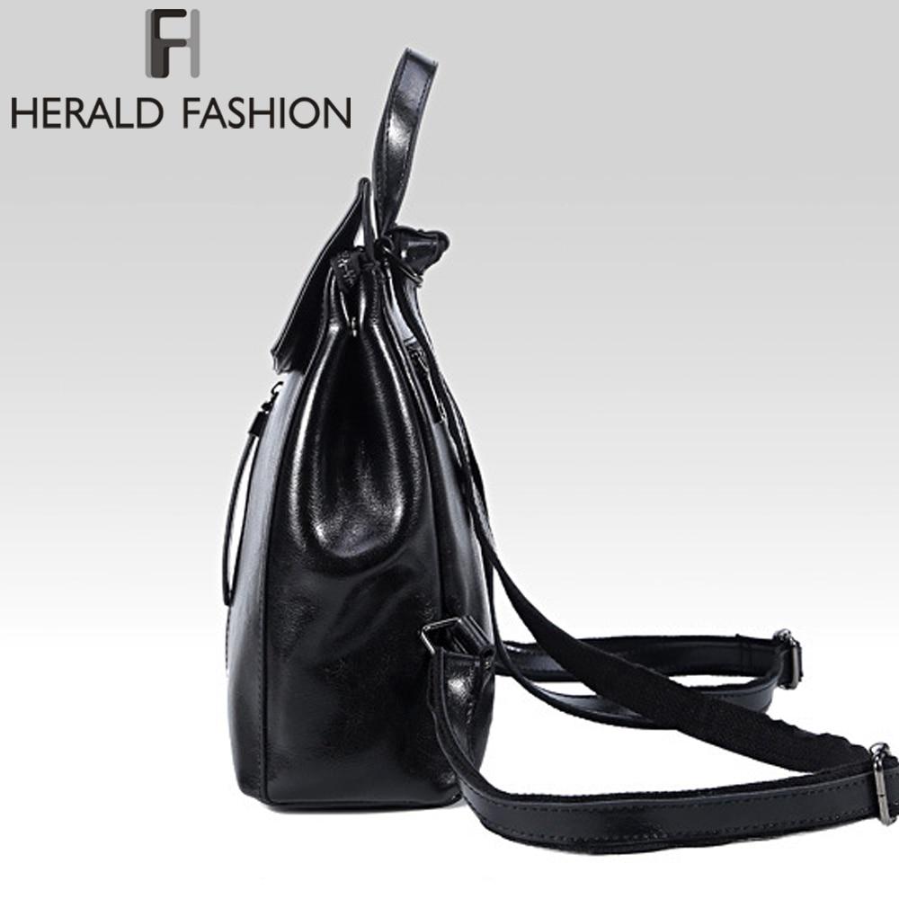 Herald Fashion Genuine Leather Backpack Vintage Cow Split Leather Women Backpack Ladies Shoulder Bag School Bag For Teenage Girl #3