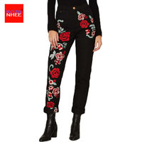 Women Black Straight High Waist Roses Jeans With Embroidery Plus Size Pencils Blue Denim Pants Casual